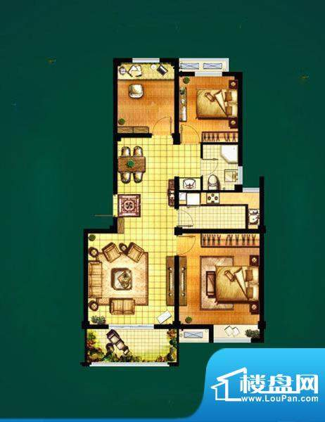 山水湾D4 3室2厅1卫面积:87.76平米