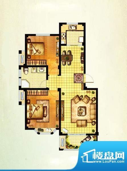 山水湾D1 2室2厅1卫面积:87.35平米