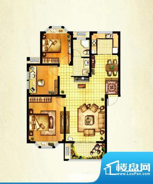 山水湾D8 3室2厅1卫面积:98.15平米
