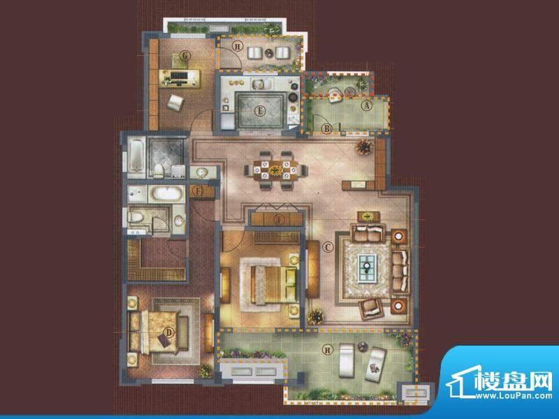 橡树湾D-4a户型 3室面积:152.00平米
