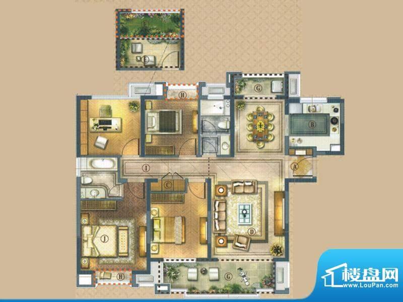 橡树湾C-1户型 3室2面积:143.00平米