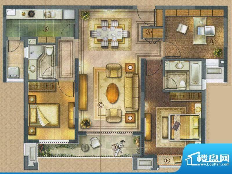 橡树湾C-2户型 3室2面积:121.00平米