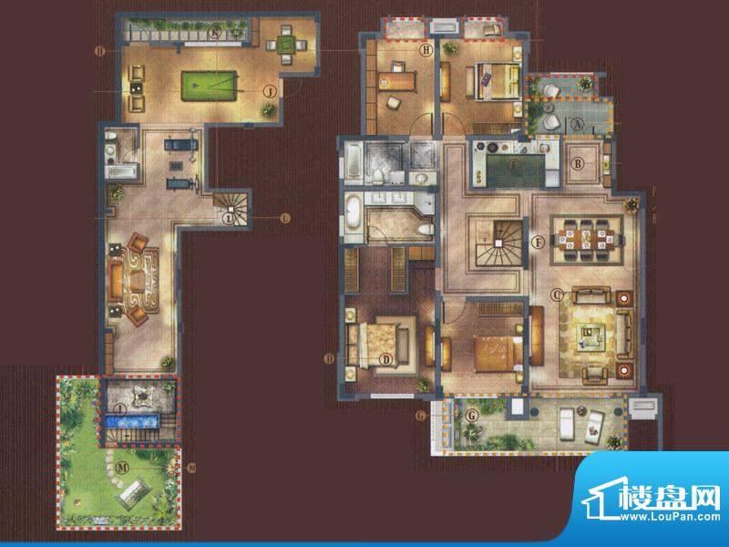 橡树湾D-2a户型 4室面积:175.00平米
