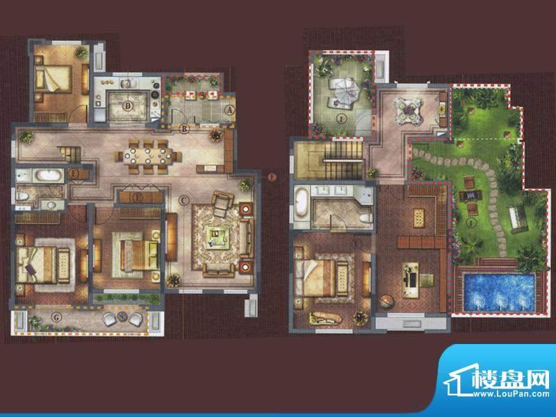 橡树湾D-5a户型 6室面积:227.00平米
