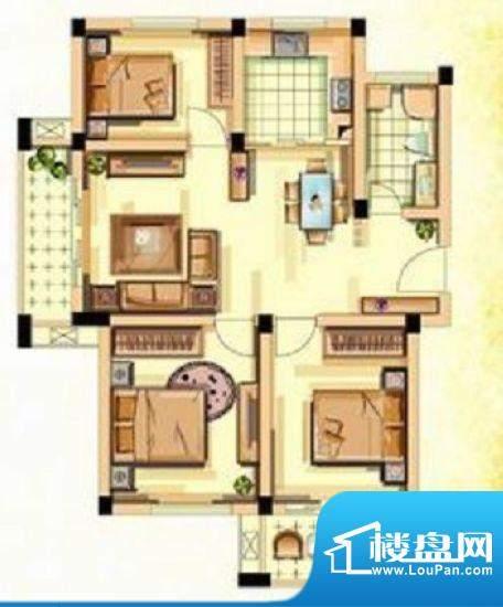香江花城D户型图 3室面积:97.00平米