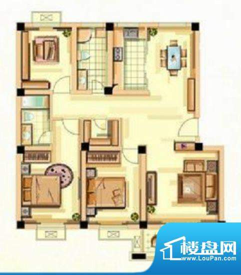 香江花城F户型图 3室面积:127.00平米