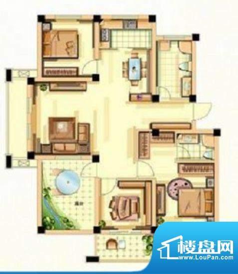 香江花城G1户型图 3面积:124.00平米