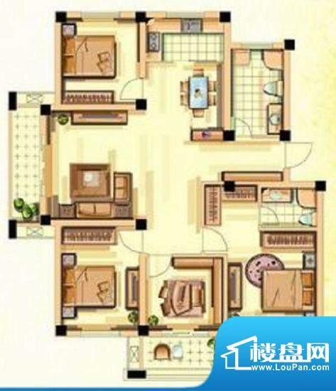 香江花城G户型图 4室面积:139.00平米