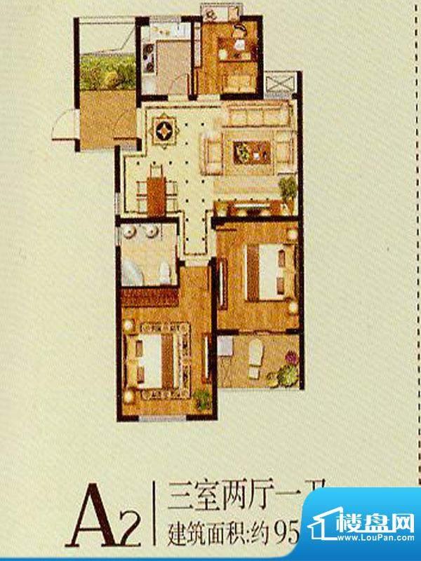 润金城A2户型 3室2厅面积:95.00平米