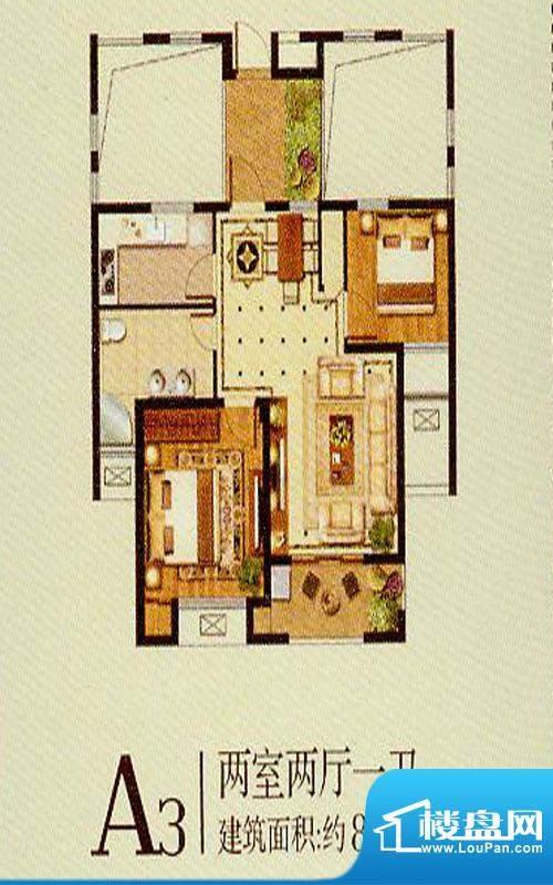 润金城A3户型 2室2厅面积:83.00平米