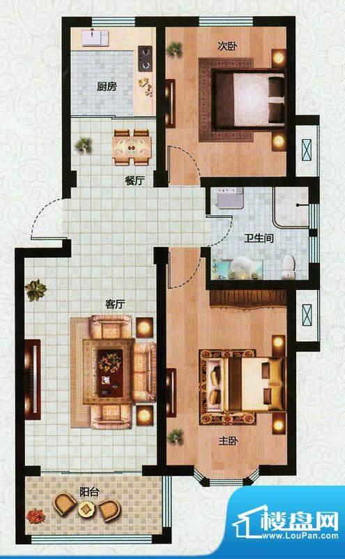 万恒东1号B1户型 2室面积:90.00平米