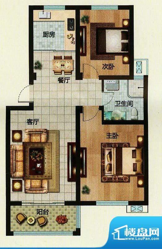 万恒东1号B2户型 2室面积:89.08平米