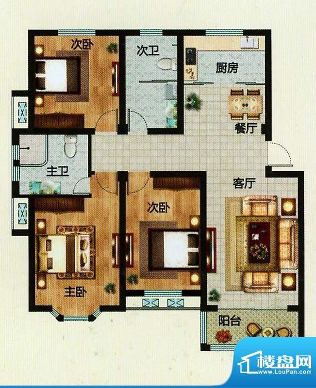 万恒东1号C户型 3室面积:124.00平米