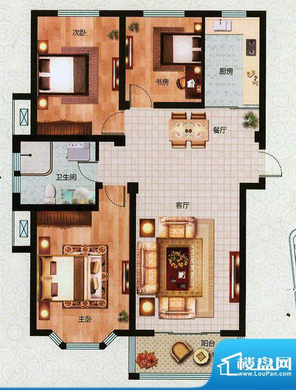 万恒东1号D户型 3室面积:108.00平米