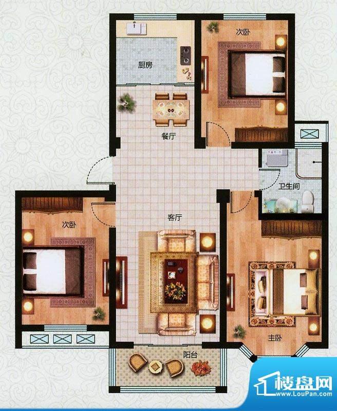 万恒东1号E户型 3室面积:112.00平米
