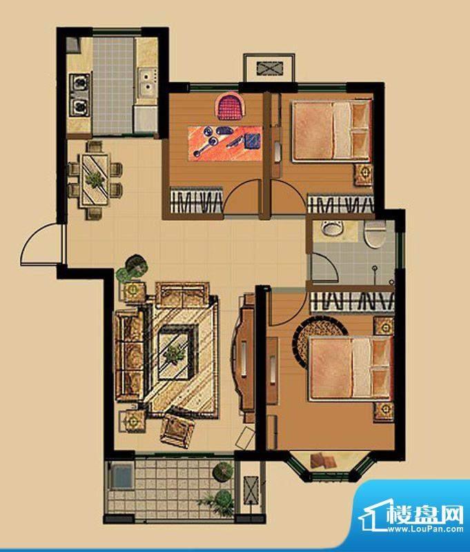 金色雅筑E1户型 3室面积:87.27平米