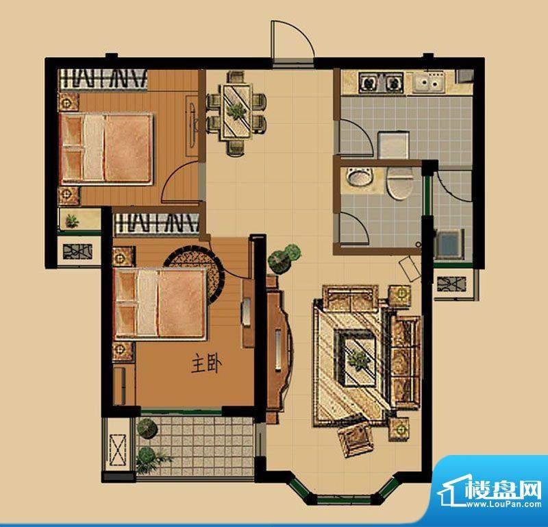 金色雅筑E2户型 2室面积:84.66平米