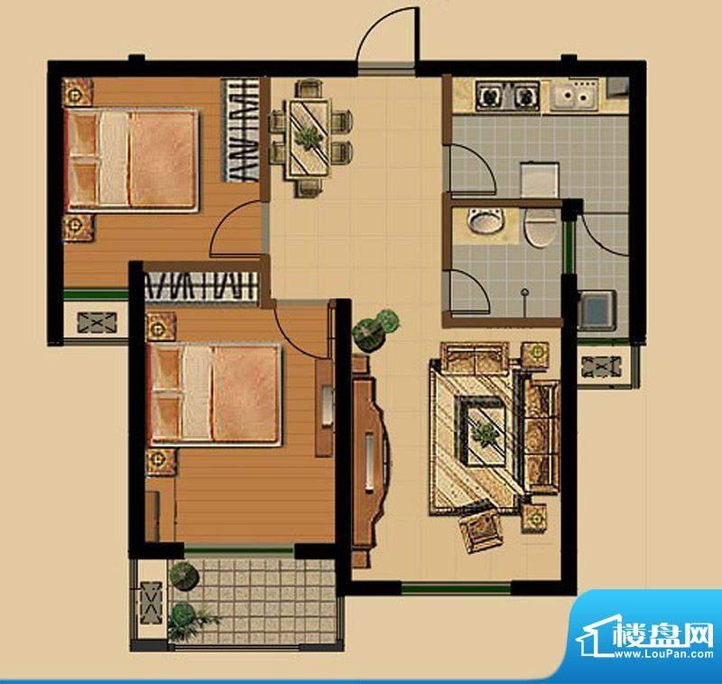 金色雅筑F2户型 2室面积:82.53平米