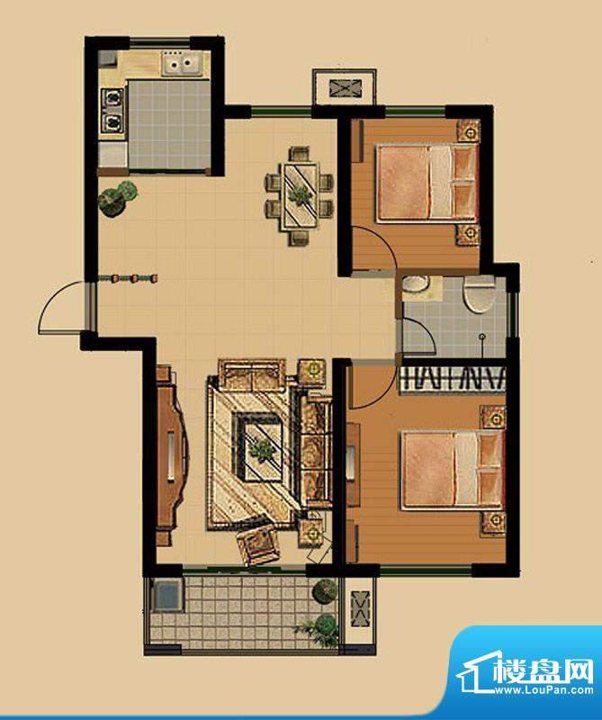 金色雅筑F1户型 2室面积:87.23平米