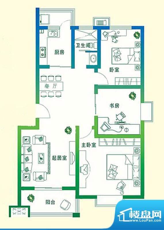 万豪绿城D1户型 3室面积:109.00平米