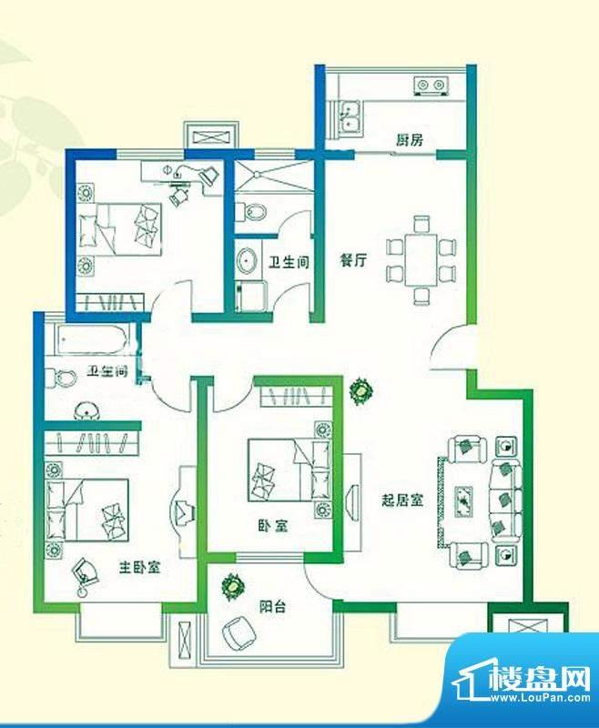 万豪绿城C2户型 3室面积:120.00平米