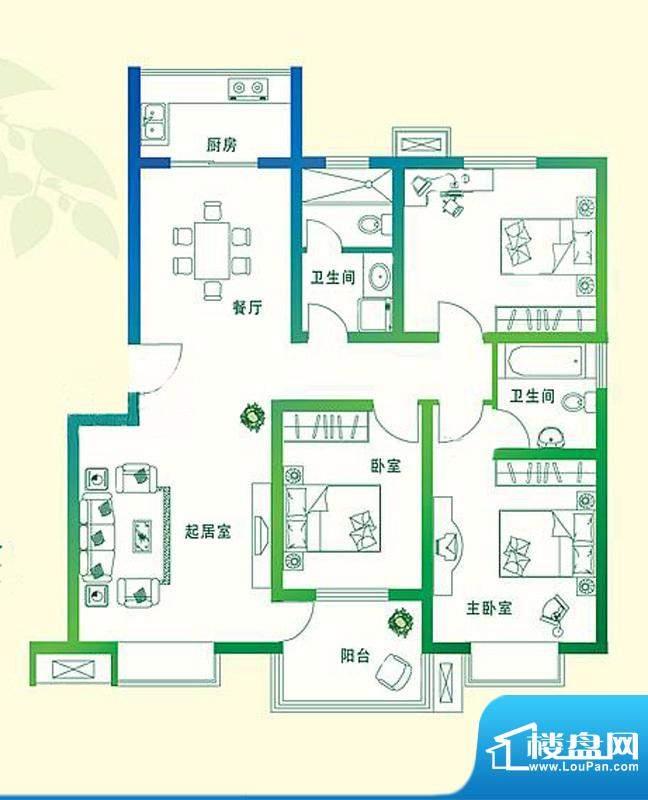 万豪绿城C1户型 3室面积:124.00平米