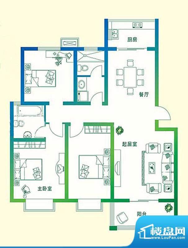 万豪绿城B2户型 3室面积:124.00平米