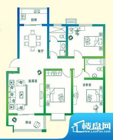 万豪绿城B1户型 3室面积:127.00平米