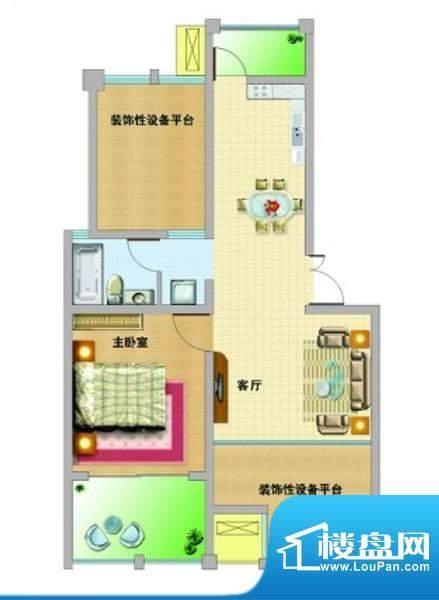 山南小镇A户型 1室2面积:68.00平米