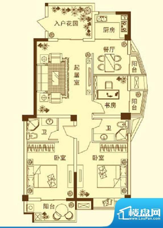 玉融瀚景园A户型 3室面积:121.50平米