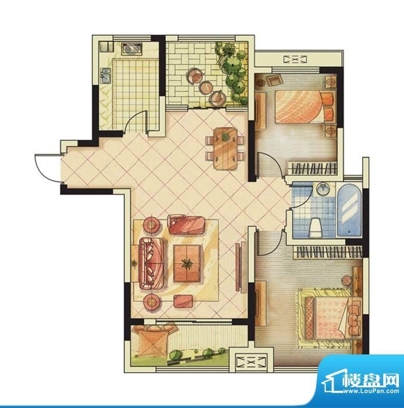 海峡曼乔世家2#楼J户面积:94.00平米