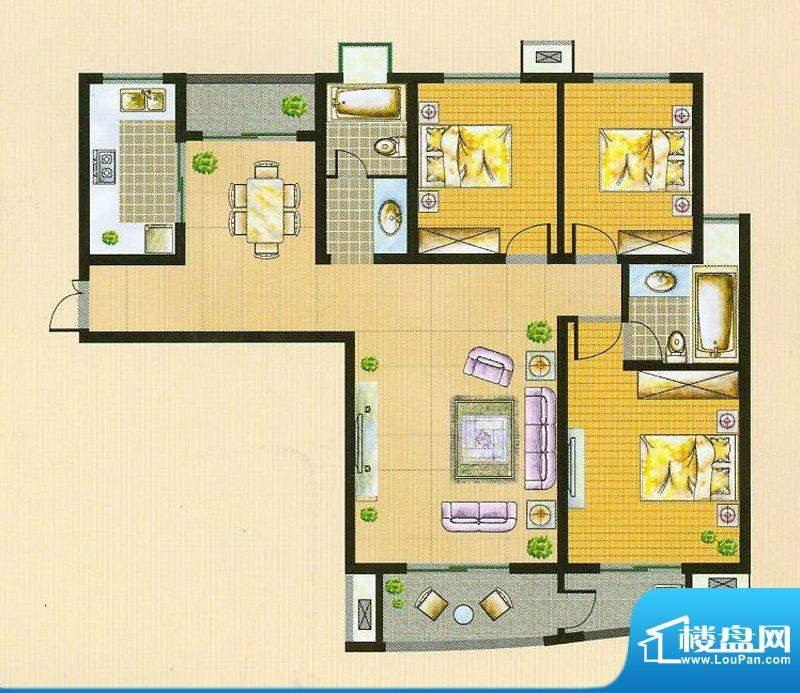 翠湖御景A7 3室2厅2面积:129.03平米