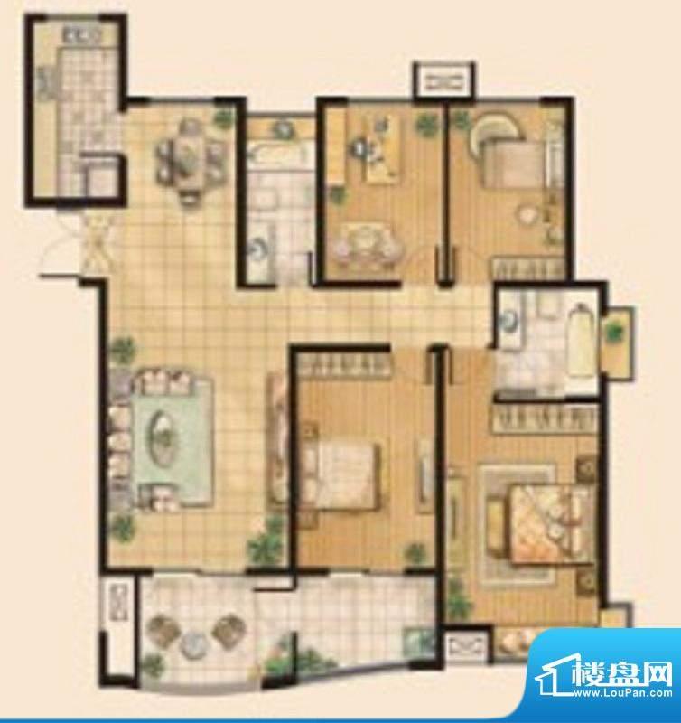 翠湖御景A9户型 4室面积:140.48平米