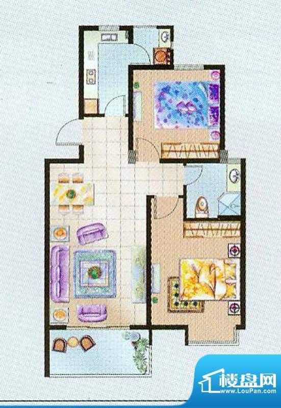 瑞凯国际城A户型 2室面积:90.00平米