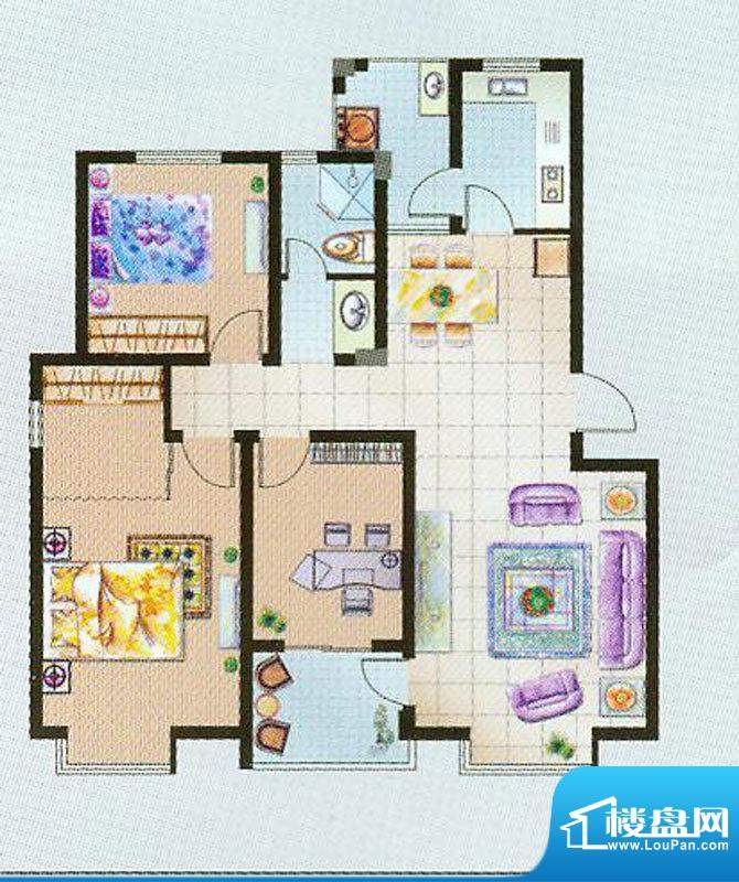 瑞凯国际城B户型 3室面积:120.00平米