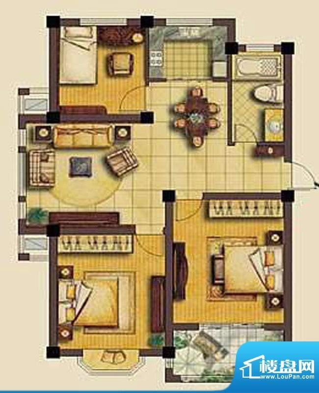 欧洲城A户型 3室2厅面积:99.34平米