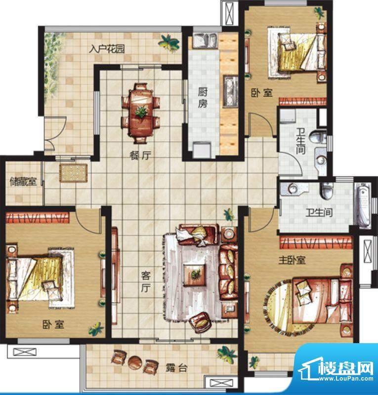 天悦华景4F户型 3室面积:129.00平米