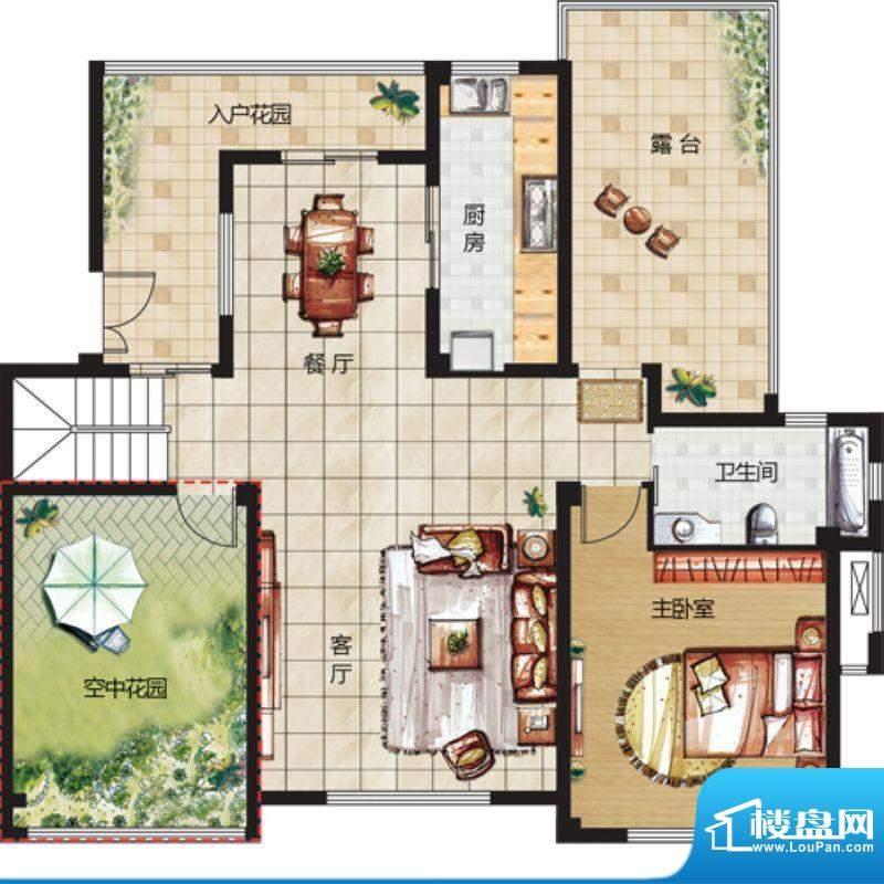 天悦华景5F户型 3室面积:144.00平米