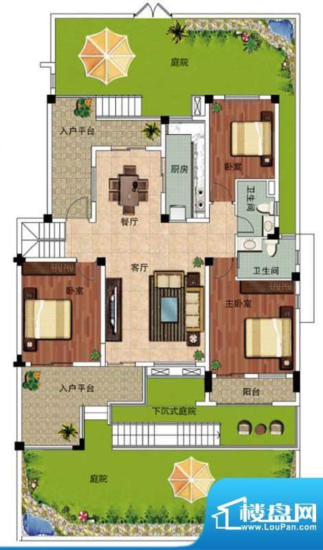 天悦华景1F户型 3室面积:134.60平米