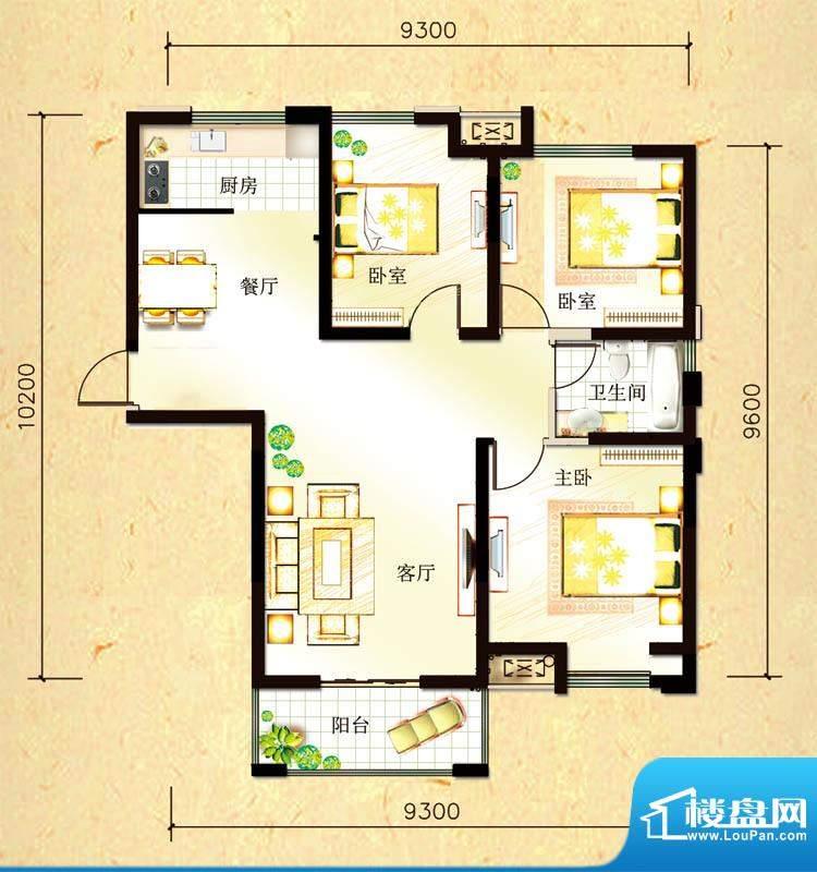 尚都国际A2户型 3室面积:105.45平米