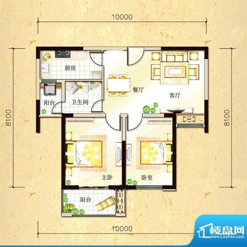 尚都国际B户型 2室2面积:84.33平米