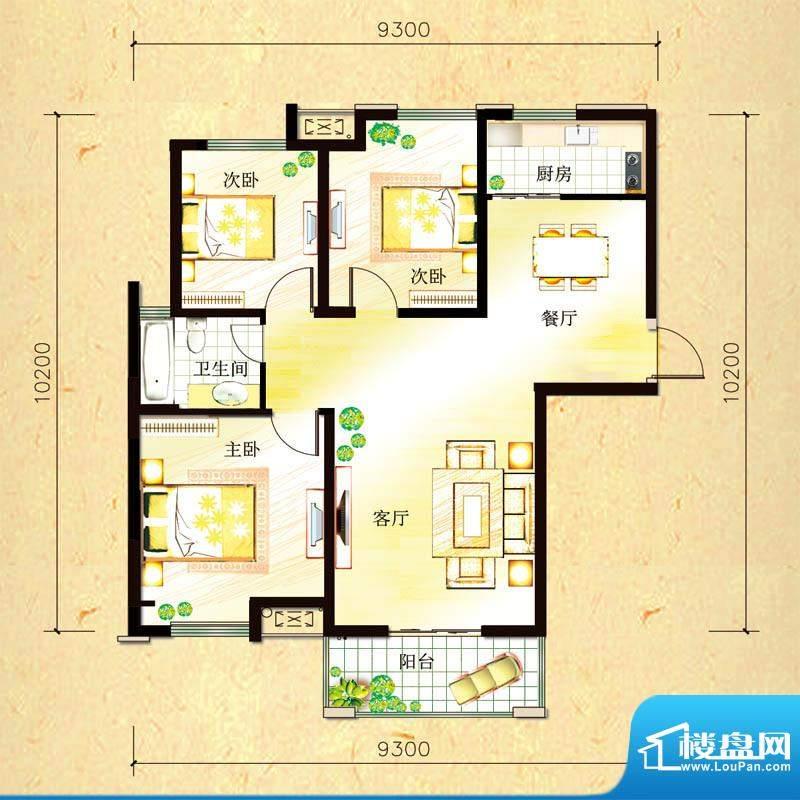 尚都国际C2户型 3室面积:101.87平米