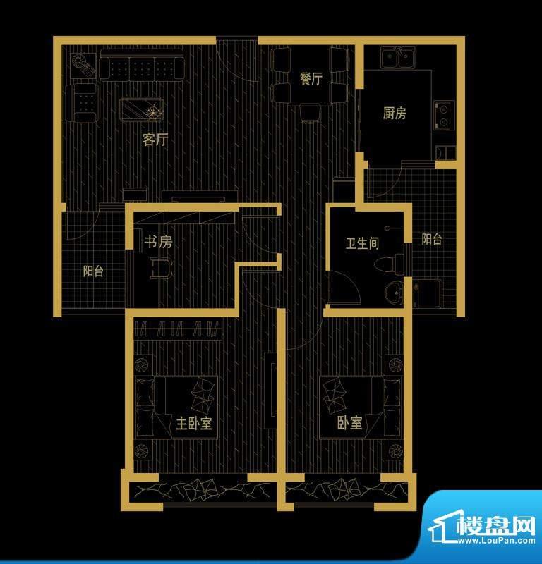 泰信81公馆B-3 三房面积:101.86平米