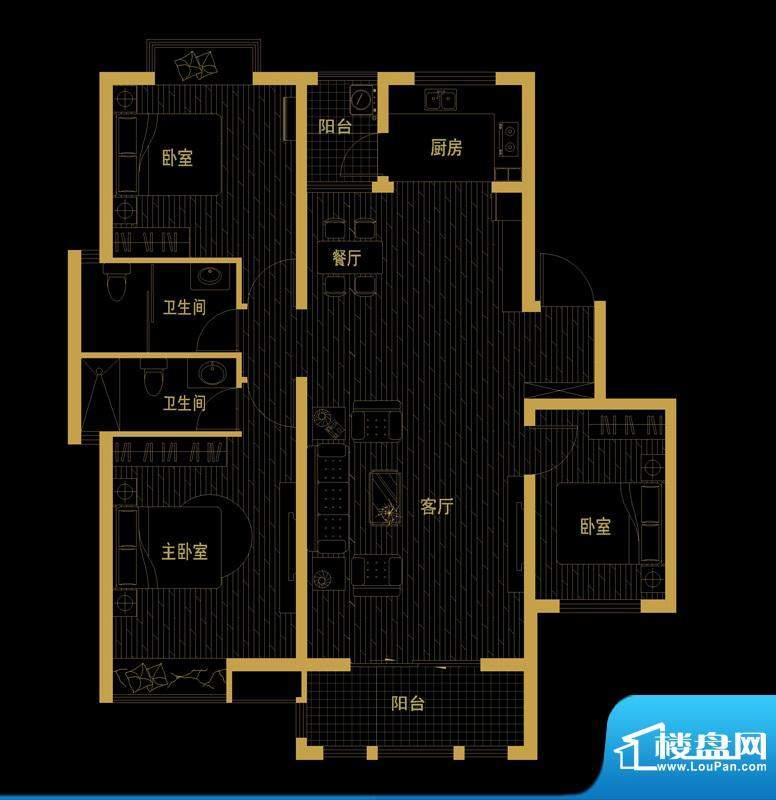 泰信81公馆B-2 三房面积:114.15平米
