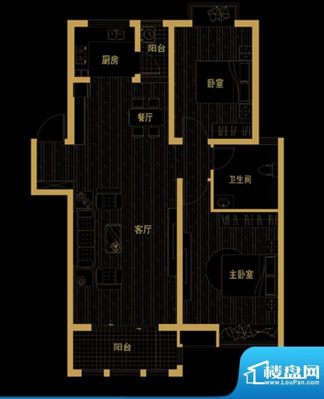泰信81公馆A-2 二房面积:94.65平米