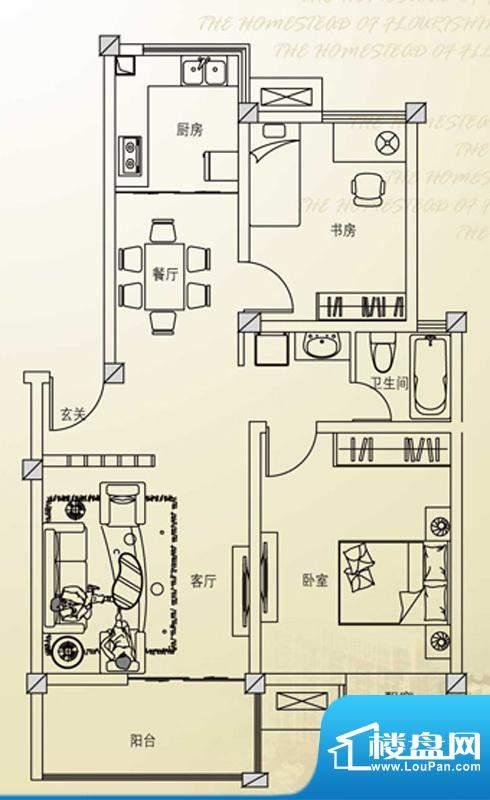 欣欣家园F户型 2室2面积:82.40平米