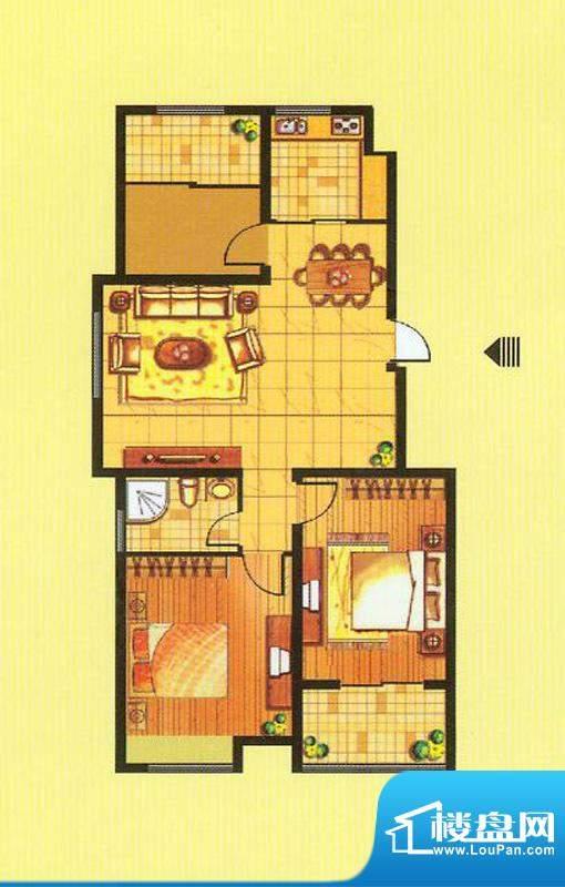 山水龙瑞B户型 3室2面积:99.00平米