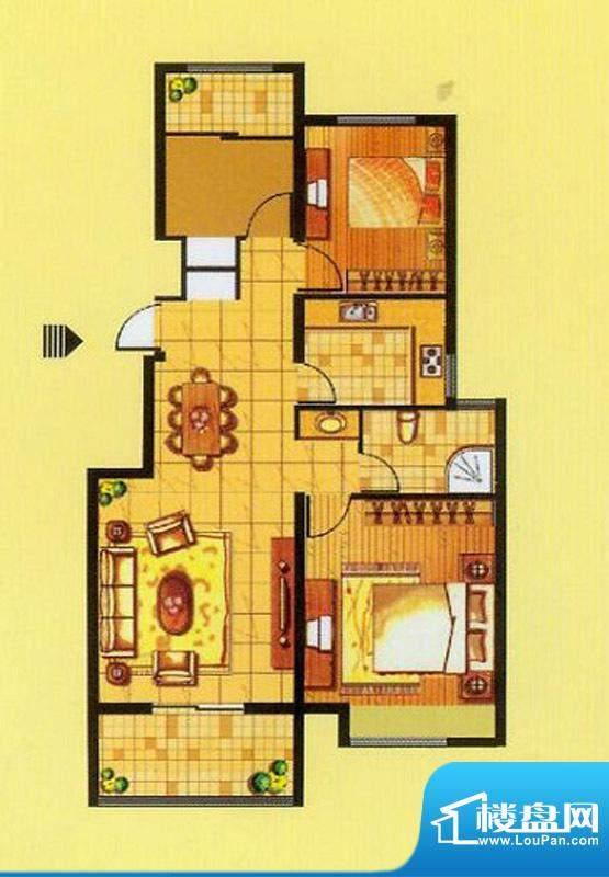 山水龙瑞A户型 3室2面积:91.00平米