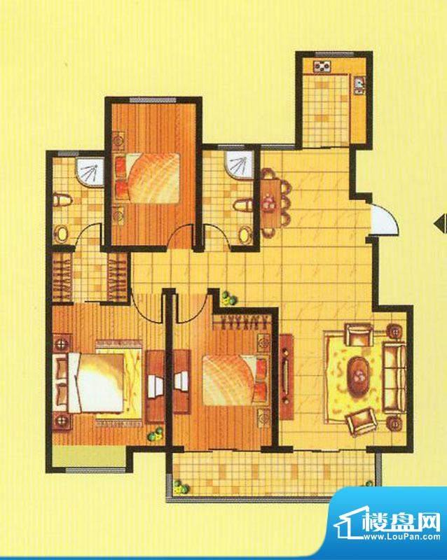 山水龙瑞C户型 3室2面积:125.00平米