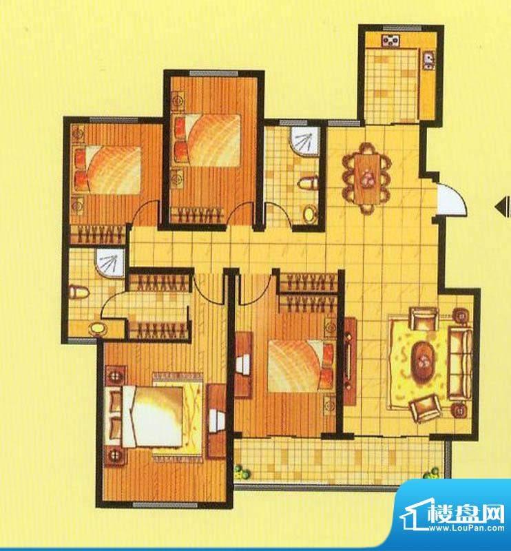山水龙瑞D户型 4室2面积:141.00平米